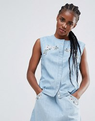 Bellfield Embroidered Denim Sleeveless Shirt Pale Wash Blue