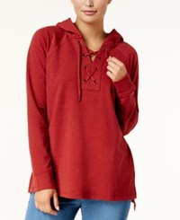 Style And Co Long Sleeve Lace Up Hoodie Created For Macy's Crimson Tide