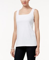 Karen Scott Square Neck Tank Top Only At Macy's Bright White