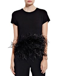 Pink Tartan Ostrich Feather Accented Tee Black