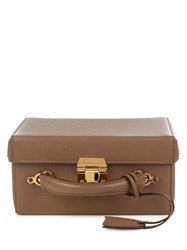 Mark Cross Grace Large Grained Leather Box Bag Brown
