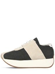 Marni 40Mm Suede And Mesh Platform Sneakers Grey
