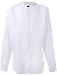 Z Zegna Band Collar Shirt Men Linen Flax M White