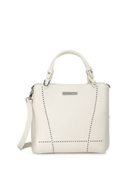 Charles Jourdan Nydia Laser Cut Leather Satchel Bag Bone