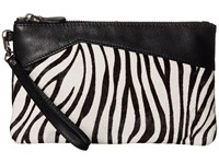 Mighty Purse Cow Leather Charging Zebra Wristlet Black White Wristlet Handbags