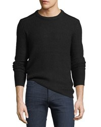 Velvet Ribbed Crewneck Sweater Black