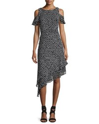 Neiman Marcus Cold Shoulder Polka Dot Asymmetric Hem Dress Black White