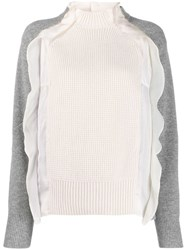 Sacai Frill Trimmed Two Tone Jumper 159 White Grey