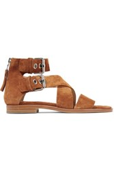 Rag And Bone Madeira Buckled Suede Sandals Tan