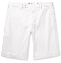 Zanella Chase Stretch Linen And Cotton Blend Twill Shorts White