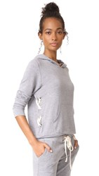 Monrow Side Lace Up Pullover Hoodie Heather Grey