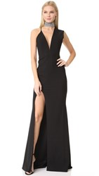Michelle Mason Asymmetrical Plunge Gown Black
