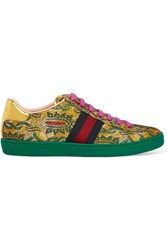 Gucci Ace Metallic Leather Trimmed Brocade Sneakers Green