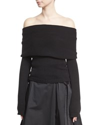 Rosetta Getty Off The Shoulder Banded Pullover Black