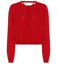 Red Valentino Wool And Silk Cardigan Red
