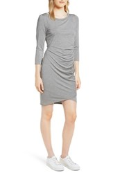 Gibson X Living In Yellow Hannah Ruched Faux Wrap Dress Heather Grey