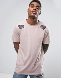 Asos Longline T Shirt With Flower Embroidery And Rolled Sleeve Belle Pink