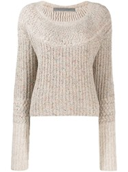 Raquel Allegra Cropped Knit Jumper Neutrals