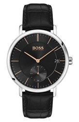 Boss Leather Strap Watch 40Mm Black Black