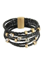 Saachi Black Braided Rope Embellished Multi Strand Leather Bracelet