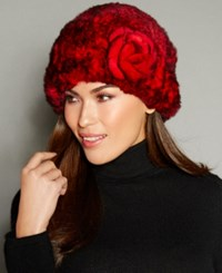The Fur Vault Rosette Knitted Rex Rabbit Hat Red