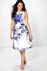 Boohoo Dora Porcelain Print Sateen Skater Dress Blue
