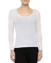 Theyskens' Theory Knit Long Sleeve Scoop Neck Sweater Ivory