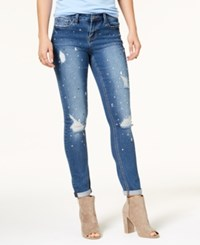Rampage Juniors' Ripped Embellished Skinny Jeans Monica