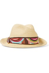Emilio Pucci Printed Silk Trimmed Straw Hat Nude