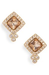 Jenny Packham Crystal Stud Earrings Champagne Gold