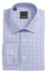 David Donahue Men's Big And Tall Regular Fit Check Dress Shirt Sky Lilac