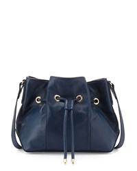 Lauren Merkin Peyton Leather Drawstring Bucket Bag Navy