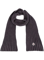 Moncler Ribbed Knit Scarf Grey