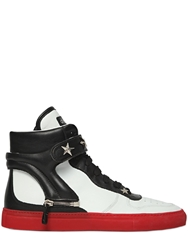 D S De Star Studs On Leather High Top Sneakers White Black Red