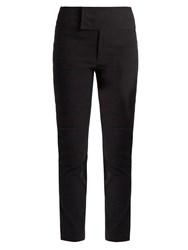 Isabel Marant Ovida Cropped Flared Cotton Blend Trousers Black