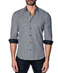 Jared Lang Modern Fit Houndstooth Long Sleeve Shirt White Black Hound