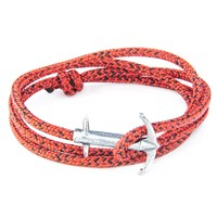 Anchor And Crew Admiral Rope And Silver Bracelet Red Noir