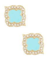 Ariella Collection Quatrefoil Stud Earrings Blue