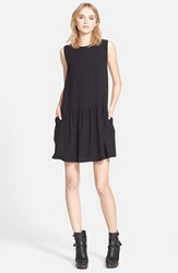 Belstaff 'Lindley' Pleated Sleeveless Crepe Dress Black