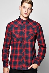 Boohoo Striped Checked Shirt Red
