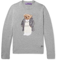 Ralph Lauren Purple Label Polo Bear Intarsia Cashmere Sweater Gray