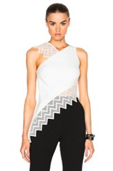 David Koma Zig Zag Macrame Asymmetric Top In White