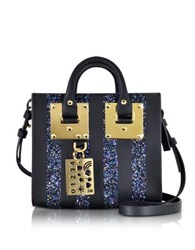 Sophie Hulme Black Saddle Leather Albion And Navy Blue Glitter Box Tote Bag