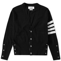 Thom Browne Cashmere Arm Stripe Short Cardigan Black
