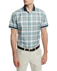 Brioni Plaid Short Sleeve Shirt With Contrast Trim Aqua Blue