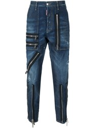 Dsquared2 'Clement' Zip Detail Jeans Blue