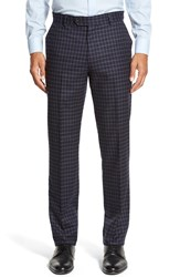 Strong Suit 'Dagger' Flat Front Check Wool Trousers Navy Check