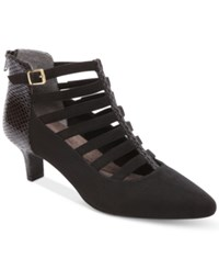 Rockport Women's Kimly Caged Booties Women's Shoes Black Suede
