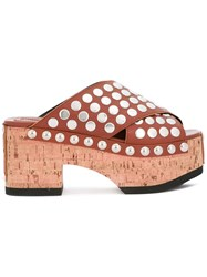 Mcq By Alexander Mcqueen 'Paloma' Studded Clogs Brown