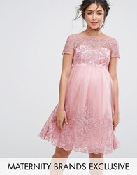 Chi Chi Maternity London Premium Embroidered Prom Dress With Tulle Skirt Pink